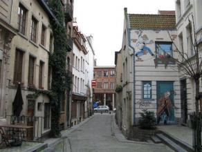 Appartement gelegen o de 1ste verdieping van een klein gebouw in een auto vrije straat in het hartje van Brussel. Het appartement bestaat uit een leef
