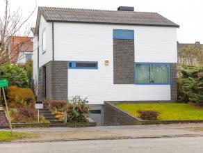 Verzorgde villa met zuidgerichte tuin op 3a75 bestaande uit een inkomhal met vestiaire en wc, een gezellige leefruimte met open haard en parketvloer,