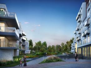 Dit hoekappartement van 95 m² is gelegen op de eerste verdieping. Via de leefruimte met open keuken is er toegang  tot een prachtig terras van 22
