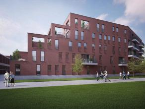 Appartement van 53m² bevindt zich op de tweede verdieping van Residentie Muziek. Het omvat een inkomhal met vestaire, toilet, leefruimte met eetk