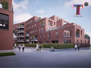 Appartement van 75m² bevindt zich op de tweede verdieping van Residentie Muziek. Het omvat een inkomhal met vestaire, toilet, leefruimte met eetk