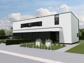 Moderne HOB nieuwbouwwoning met 3 slaapkamers op een perceel van 4a10ca. Op het gelijkvloers bevindt zich de inkomhal met apart toilet en trap naar de