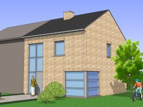 Halfopen bebouwing gelegen op een rustige nieuwe verkaveling. De woning bestaat uit een ruime living, berging, keuken met AEG-toestellen, 3 slaapkamer