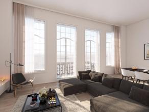 Dit ruime appartement is gelegen op de tweede verdieping en is opnieuw volledig ingedeeld volgens de geest van het gebouw. De oorspronkelijke raampart