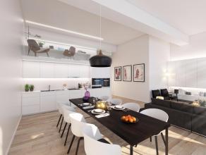 Dit appartement bestaat uit twee verdiepingen. Op de derde verdieping bevinden zich de dagzones zoals de keuken, de leefruimte en de eethoek waarbij d