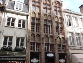 Charme appartement in centrum Brugge (lift aanwezig). Dit ruim appartement heeft een inkom met toilet, ruime living met parket vloer en open haard, de