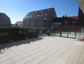 Gelijkvloers appartement met ruim (80m²) zonneterras, kan ook opgesplitst worden in een 2 kamer appartement met studio.