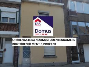 Woning met 4 vergunde studentenkamers: Gelijkvloers:inkom, studentenkamer 1 met lavabo-toilet, gemeenschappelijke keuken,gemeenschappelijke douchekame