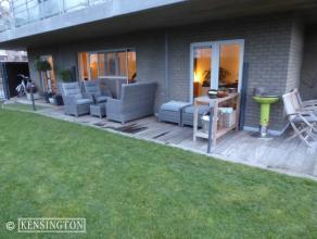 Appartement- 110 m² - type loft, zonder deuren. Met groot terras en tuin van 312 m². Inclusief 2 Parkeerplaatsen aan 150 EUR /maand Grote le