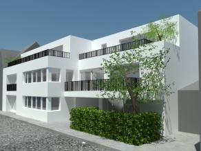 Nieuwbouwappartement 85m², living, ingerichte keuken en badkamer, apart toilet, 2 slaapkamers, tuin, berging, autostaanplaats ?25/m en algemene k