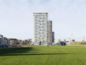 Tussen stad en park pronkt De Lichttoren, een imposante, compleet witte en recente realisatie ontworpen door architect Bob Van Reeth. Het appartement