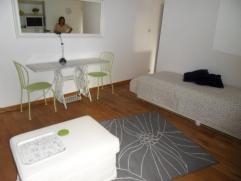 Instapklare gemeubelde studio bestaande uit een leefruimte met één bed, tafel, kast, TV, een ingerichte keuken en een aparte badkamer. M