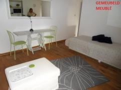 Instapklare gemeubelde studio bestaande uit een leefruimte met één bed, tafel, kast, TV, een ingerichte keuken en een aparte badkamer. A