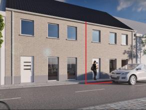 Zeer goed centraal gelegen nieuwbouwwoning met 3 slpkm, garage en staanplaats op een perceel van 200m² Gelijkvloers: Inkomhal, living met aanslui