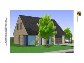 Open bebouwing van 8 meter op 9 meter. Een bouwlaag met een dak van 45°.Deze nieuw te bouwen woning wordt een open lage energiewoning. In de gepla