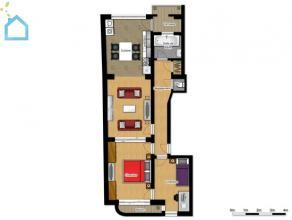 Appartement 85m² à vendre au 4ieme étage droit d'un petit immeuble sans charges, chaque apparts est composé d'un hall d'entr