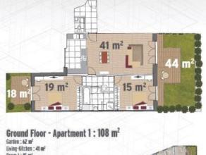 Appartement moderne, situ au 2me tage d'un petit immeuble. Comprenant un living (+/- 23m) avec cuisine quipe ouverte, wc spar, salle de douche avec ra