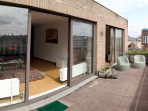 Prachtig gemeubileerd dakappartement met inkomhal, apart toilet, living, badkamer, keuken met toestellen, 1 slaapkamer en een groot terras. Uitstekend