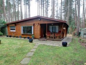 Charmante vergunde houten chalet met een gezellige woonkamer, ingerichte keuken, badkamer en 2 slpks. Gelegen in Essen-Wildert, op een perceel van 1.5