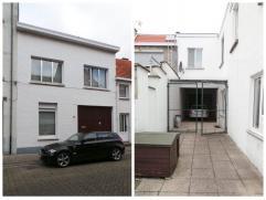 Huis met 3 slaapkamers, garage en grote tuin van 200m².  Het gelijkvloers heeft een inpandige garage voor 2 wagens met doorrit (3,25x18,74m) na