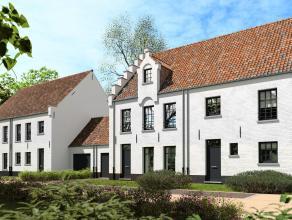De woningen, wit geschilderd, situeren zich in de voormalige parktuin van Jules Peryn aan de Kapelstraat. half open bebouwing met 3 tot mogelijk 5 sla