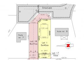 Lot 1 van goedgekeurde verkaveling: bouwgrond open bebouwing residentieel gelegen op het eind van doodlopend straatje Grootveld en rechts aan een nieu