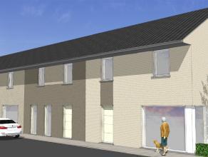 Nieuw te bouwen rijwoning gelegen op een rustige nieuwe verkaveling. De volledig afgewerkte woning bestaat uit ruime living, keuken met AEG-apparaten,