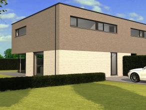 Moderne half open nieuwbouwwoning (ruwbouw / winddicht) met 3 slaapkamers op een perceel van 4are. Deze woning heeft een bewoonbare oppervlakte van 18