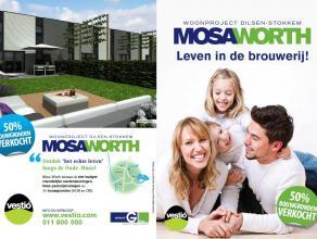 """Mooie half open bebouwing gelegen in woonproject """"Mosa Worth"""", opp. 4a93ca. Verkavelingsvoorschriften te downloaden."""
