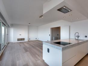 Gerenoveerd luxe 2-slk-appartement met frontaal zeezicht, 9° verdieping, omvattende: Living (8m façade) met open maatkeuken en terras, luxe