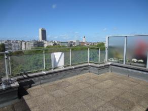 Zeer zonnig dakappartement met enorm terras en fantastisch zicht op het Leopoldpark. Gelegen op het 7de verdiep en voorzien van 1 slaapkamer. Dicht bi