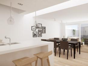 Nieuw te bouwen woning vlakbij het Vlaams Plein te Oostende omvattende: living met open keuken, berging, badkamer, 3 slaapkamers, tuin en dubbele park
