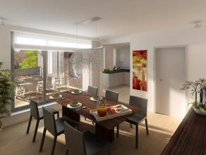 Duplexappartement (112m²) in winkelstraat en nabij de kaai van Nieuwpoort. Het appartement op de 3de verdieping bestaat uit een leefruimte met op