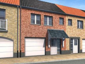 Nieuw te bouwen woning in landelijke stijl in het rustige Zevekote op 150 m² grond. Ingericht op gelijkvloers met garage, living met open keuken