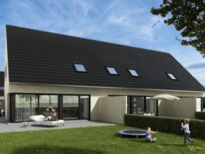 Nieuwe halfopen woning op een perceel van 469 m² met : inkom met toilet, living met veel lichtinval, open keuken, berging/wasplaats, 3 slaapkamer
