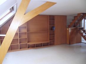 Duplexappartement met veel lichtinval in stadscentrum. Indeling: Open keuken en living (met ingemaakte kasten), via de trap bereikt u de verdieping me