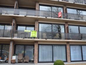 Mooi appartement met inkomhal, living, ingerichte keuken (kookplaat, frigo, dampkap, oven, afwasbekken), berging, wc met lavabo, 2 slaapkamers, terras