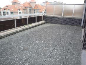Dit dakappartement omvat: inkom, living met groot en zonnig terras uitgevende op de villawijk, keuken, badkamer en twee slaapkamers. Berging op -1 inb
