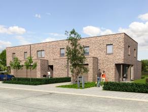 Nieuw te bouwen, VOLLEDIG AFGEWERKTE GESLOTEN BEBOUWING, bestaande uit inkom, gastentoilet, living, keuken, berging, tuin, garage, 3 slaapkamers, badk