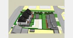 Deze nieuwbouw gesloten bebouwing omvat : Gelijkvloers : inkomhall met aparte W.C., trappenhal, garage ( 3,40 m x 5,5 m ) met aansluitend berging voor