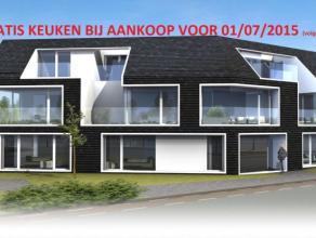 Dit appartement (nr.2) van 85m² omvat een inkomhal met toilet, een living met open keuken aan de voorzijde en toegang tot de tuin. Er is e