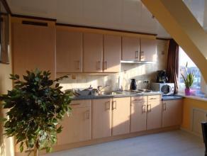 Gerenoveerd dakappartement omvattende een leefruimte met open ingerichte keuken, één slaapkamer, badkamer met douche, toilet en lavabo.