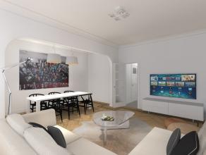 Kwaliteitsvol gerenoveerd appartement op de derde verdieping in een gebouw met lift. Het ruime appartement (95m²) beschikt over een inkomhal, liv