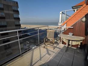 Zeer goed gelegen duplex dakappartement (112 m²) op 20 m van het Rubensplein met uitstekend zeezicht en westgericht terras. Samenstelling: inkom,