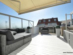 Dakstudio met groot westgericht terras, uitstekend gelegen in de Zonnelaan tussen het Rubensplein en de Casino, met zijdelings zeezicht. Samenstelling
