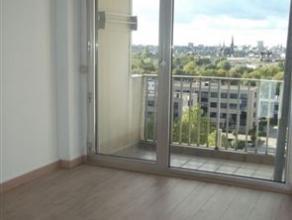 Appartement op de 10 de verdieping : Groot gerenoveerd 2 slaapkamers appartement met een panoramisch zicht op Antwerpen: Ruim salon op laminaat (55m&s
