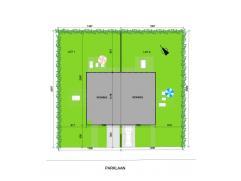Nieuw te bouwen halfopen bebouwing op een mooi perceel bouwgrond (13.86 m straatbreedte). Oppervlakte perceel 361 m². Parklaan achter het postgeb