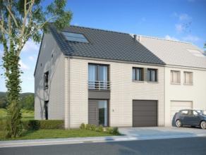 Nieuwbouwproject voor een half open bebouwing met het model SALSA 4 kamers, 2 badkamer, wc, dressing, buanderie, wasruimte, garage voor 1 wagen, dried