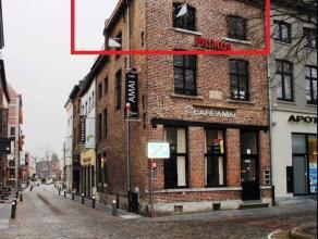 Duplex appartement op de historische markt van Maaseik. Geen lift. Woonkamer met open ingerichte keuken, badkamer met douche en toilet, 2 slaapkamers.