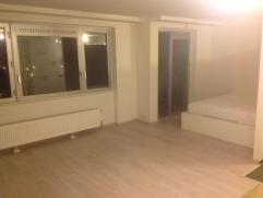 Volledig gerenoveerde studio met veel lichtinval en een open loft gevoel. Inkomhal met dressing-kast Badkamer met inloopdouche, toilet, wastafel en ha